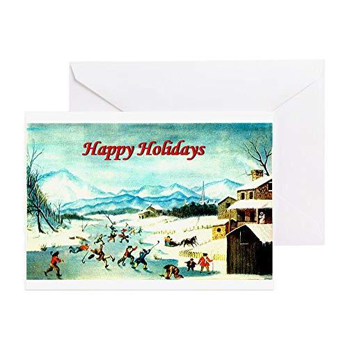 CafePress Urlaubs-Hockey-Grußkarte, Notizkarte, Geburtstagskarte, Innenseite blanko, matt