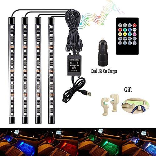 Auto Licht Streifen Auto LED Innenraumbeleuchtung Lichtleiste Auto LED Leuchten mit Sound Active Funktion und kabelloser Fernbedienung für Innenräume Kit Set[4 Stück 48 LED] (Boot-plug-licht)