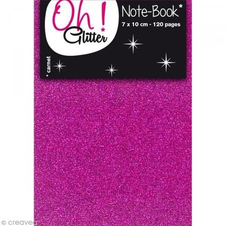 Oh ! Glitter Carnet d'idée glitter a décorer - 7x10cm - fuchsia