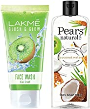 Lakme Blush and Glow Kiwi Freshness Gel Face Wash with Kiwi Extracts, 100 g & Pears Naturale Nourishing Coconut Water Bodywa