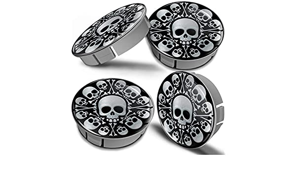 Biomar Labs/® 4 x 60mm 3D Universal Wheel Hub Centre Caps Silver Skull Center Rims CS 8