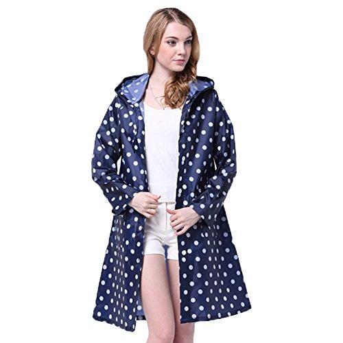 Damen Regenmantel Raincoat mit Kapuze – LOSORN ZPY Mädchen Tupfen Wasserdicht Punkten Regenjacke (M, Blau)
