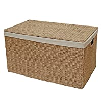 Casa Furnishings Wicker Lined Trunk, Toy Chest, Storage Basket