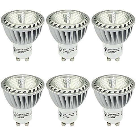 SHINE HAI Bombillas LED Gu10 Lámparas Halógenas Equivalentes a 50W, Blanco cálido 2700K, 500LM,6W CRI>85, con Casquillo de aluminio, Iluminación LED 230V,Spot luz,6 Unidades