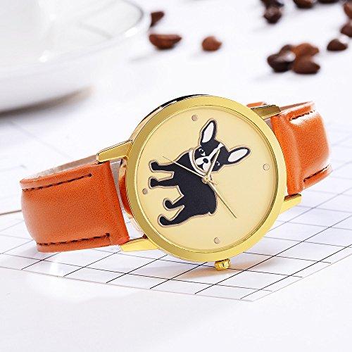 COOKDATE Damen Armbanduhr Elegant Analog Leder Armband Quarz Uhr Herren Damen Armbanduhr Ultra flach Slim Uhr mit Leder Mehrfarbig -
