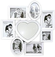 Idea Regalo - Splendida cornice portafoto multipla in plastica bianca, con specchio a cuore centrale, 49cm x 51cm