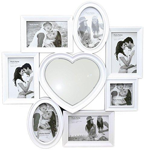 Splendida cornice portafoto multipla in plastica bianca, con specchio a cuore centrale, 49cm x 51cm