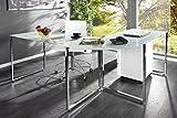 Invicta Interior Eck-Schreibtisch STUDIO Glas weiss Schreibtisch weiß Tisch Bürotisch