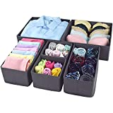 Voroly Foldable Cloth Storage Box Closet Dresser Drawer Organizer Cube Basket Bins Containers Divider with Drawers for Underwear, Bras, Socks, Ties, Scarves (Set of 6 Gray)