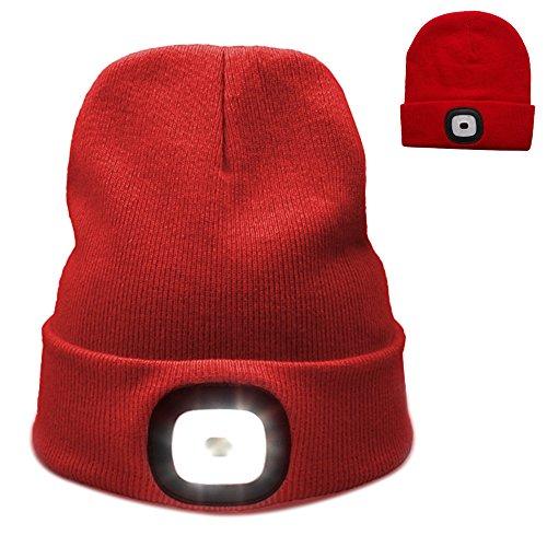 4 LED stricken Hut USB mit wiederaufladbare Taschenlampe, Unisex Winter wärmer Scheinwerfer Mütze Hut für Jagd, Camping, Grillen laufen (rot)