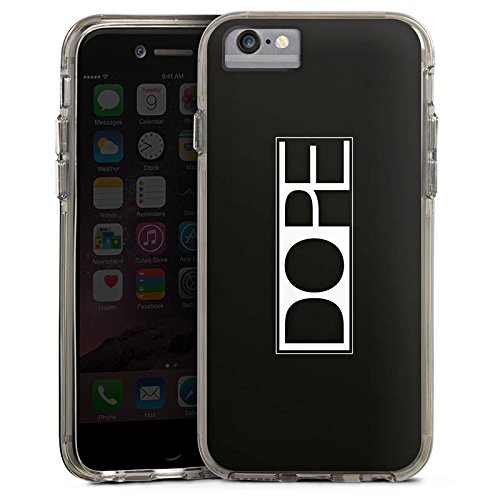 Apple iPhone 6 Bumper Hülle Bumper Case Glitzer Hülle Dope Marihuana Statement Bumper Case transparent grau