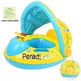 Peradix Piscina Salvagente per Bambini con Tettuccio Parasole Mutandina e Patch di Riparazione (Blu-Giallo)