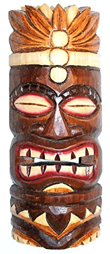 Wohnkult Tiki Wandmaske 30 cm Hawaii Maske aus Holz Wandbrett Wandschild Südsee