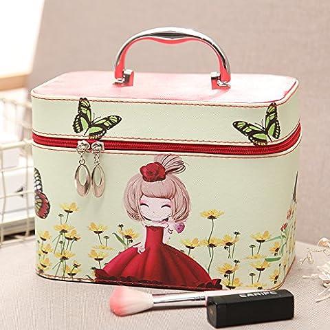 Trousse de toilette femme belle grande capacité sac à main sac cosmétique voyage vanity case cosmétique portable package package ,fille rouge,grand