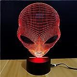 Alien 3D óptico ilusión escritorio lámpara única noche luz para decoración casera 7 colores cambiando USB powered botón táctil LED lámpara de mesa-mejor regalo para niños/amigos/cumpleaños/vacaciones