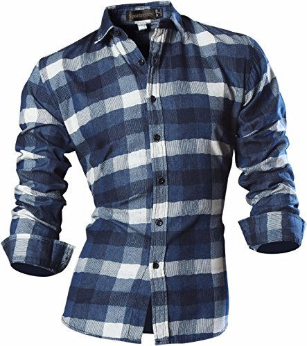 Sportrendy Herren Freizeit Hemden Shirt Slim Fit Brushed Cotton Lumberjack Long Sleeves Plaid Shirts Tops MFN2_MAJ001 (USA L (Chest 106-112cm), MAJ003_DarkBlue) (Shirts Kurzarm-formalen)