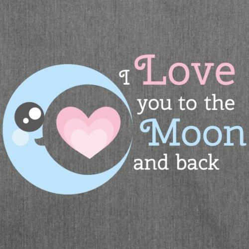 Spreadshirt Valentinstag Love You To The Moon And Back Schultertasche aus Recycling-Material Dunkelgrau Meliert
