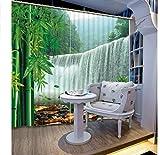 MSCLY Wasserfall Bambus Landschaft 3D Vorhänge Für Wohnzimmer Schlafzimmer Vorhänge Büro Hotel Home Wandteppich Hochpräzise Schatten H200Xw240Cm