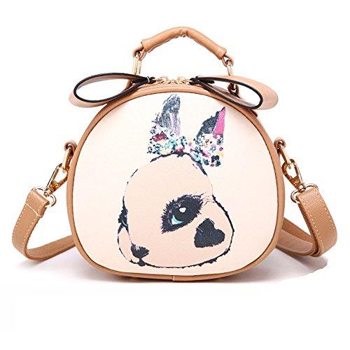 Fashion Damen Girls Hübsch Kaninchen Drucken Weiche PU kleine Handtasche Tasche Travel Schultertasche Crossbody Messenger Bag Beige