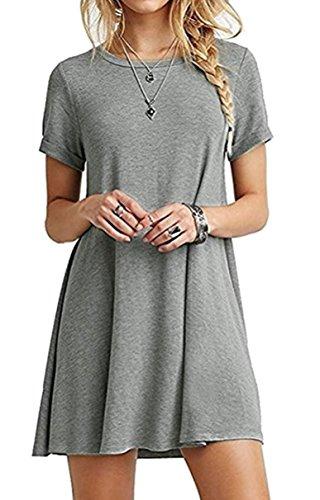 Kurzarm T-shirt Kleid (ZIOOER Damen Sommerkleider Kleider Casual MiniKleid Langes Shirt Lose Freizeitkleider Tunika Kurzarm Tshirt Kleid Abendkleid Grau 2XL)
