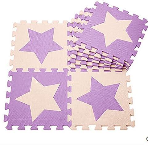 H Cadeau Bunt Puzzlematte Schaumstoff Puzzle Matte Kinder Spielteppich Spielmatte Baby krabbeln Boden Schlafzimmer Yoga Turnhalle 30*30cm 9 teilig (Lila