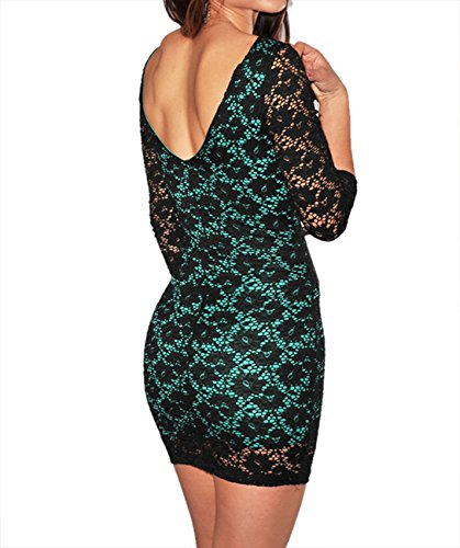 E-Girl classique col rond manches 3/4 Surface dentelle Magenta Mini robe - bleu,Bleu,Taille unique Bleu