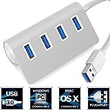 Aluminum USB 3.0 Hub, PUGO TOP® Premium 4 Port Silver...