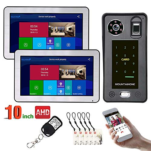 Remote-access-system (CPDZ 10 Zoll 2 Monitore Wired WiFi Fingerprint IC Karte Video Türsprechanlage Türklingel Intercom System mit AHD 720 P Tür Access Control System Remote APP entsperren Aufnahme Schnappschuss)