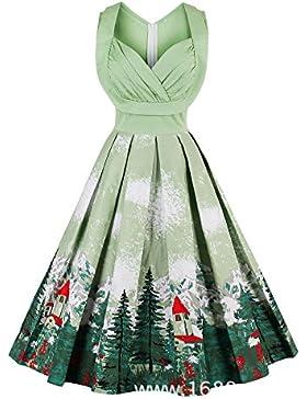 Louis Rouse mujeres vestido vintage color Printing swing vestido de fiesta