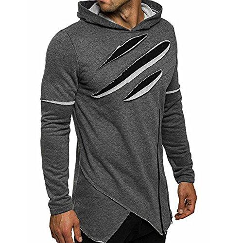 Sport Crewneck Pullover (LANSKIRT Männer Langarmshirt mit Kapuze Oberteile Jacke Mantel Outwear Herren Sport Fitness Training Crewneck Täglichen Pullover Warm Basic)