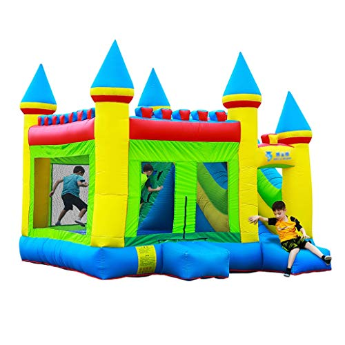Bouncy Castles Sports Toys Home Children's Inflatable Park Outdoor Children's Slide Folding Trampoline Indoor Bounce Bed Toy Boy And Girl Playground (Color : Blue, Size : 410 * 380 * 410cm)