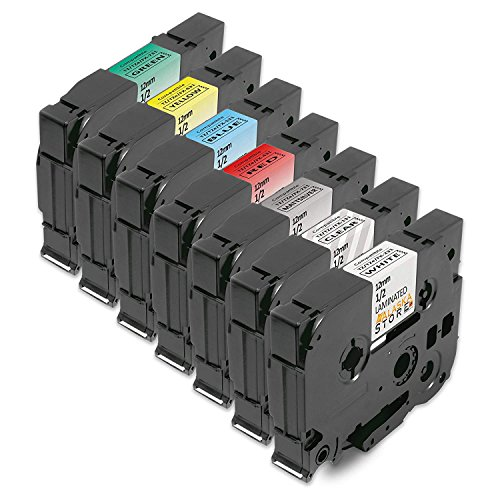 7er Set Schriftband-Kassette Tape Ersatz für Brother 1x TZ-131 XL + 1x TZ-231 XL + 1x TZ-431 XL + 1x TZ-531 XL + 1x TZ-631 XL + 1x TZ-731 XL + 1x TZ-931 XL, je 12mm, für schriftband p-Touch 1010