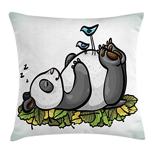 WITHY Funny Throw Pillow Cushion Cover, Sleeping Panda Bear and Birds on Her Belly Childish Friend Nature Cute Animal Cartoon, Decorative Square Accent Pillow Case, 18 X 18 inches, Multicolor -