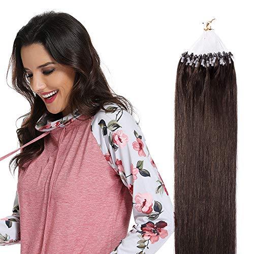 Microring Extensions 100 Strähnen Loop Extensions Echthaar Glatt 50g 100% Remy Echthaar Haarverlängerung 55cm #2 Dunkelbraun -