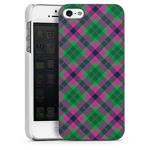 Apple iPhone 5 Housse Étui Silicone Coque Protection Carreau Écossais Vert CasDur blanc