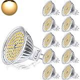 Yafido Lampadine LED MR16 GU 5.3 12V Faretti Luce 5W Equivalente a 35W Alogena GU5.3 Bianco Caldo 2800K 400LM Non-Dimmerabile Confezione da 10