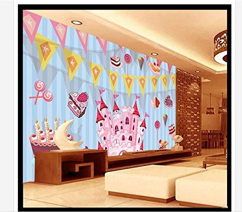 Wanghan 3D Tapete Customzed Tapete Kind Traumschloss Geburtstagstorte Tv-Einstellung Wand Kinderzimmer Home Decoration-350Cmx245Cm