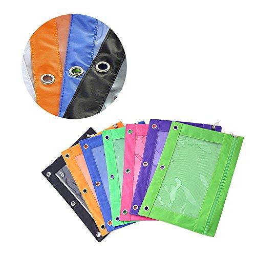Federmäppchen zum Abheften, mit Reißverschluss und 3 Ringbuchlöchern, Bleistiftbeutel, rot, schwarz, grün, blau, gelb, violett, 6 Stück -