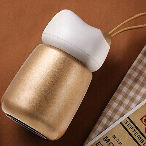 300ml Portable Lady Cute Isolierung Cup Kinder Studenten Essen Becher Classic Classic Edelstahl Geschmorter Becher , gold , 300ml