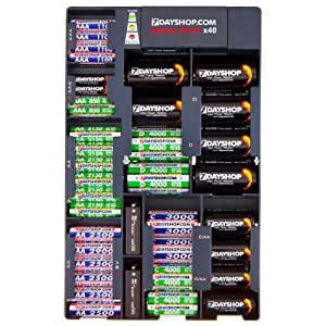 7dayshop Battery Organiser / Storage Tray / Rack with Built in Battery Tester