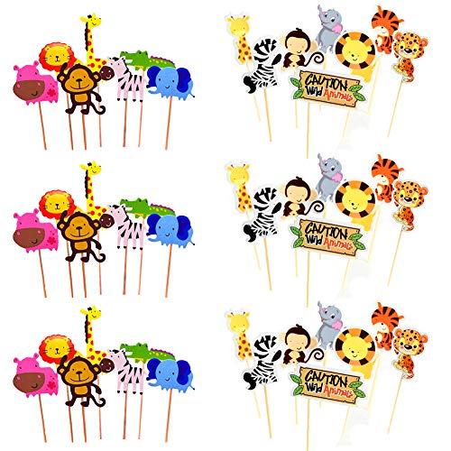 BESTZY Zoo Tier Cupcake Toppers Tortenstecker 45 Stücke Dschungeltiere zum Dekorieren Tier Kuchendeckel Topper für Kinder Baby Party Geburtstag Party Kuchen Dekoration Supplies