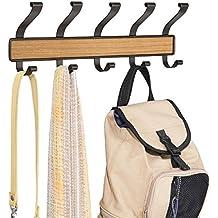 mDesign Perchero de 10 ganchos, para colocar sobre perfil de puerta; organiza sacos, sombreros, batas, toallas - Bronce/terminación teca