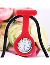 ShopyStore Red Outad 1Pcs Nurses Pocket Watch Mini Portable Silicone Doctor Fob Watch Multiple Col