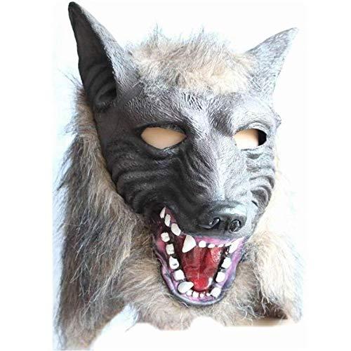 ZX Maske Halloween Terror Teufel Kostümfest Requisiten Komplette Kopf Wolf Kopfbedeckungen,grau,Wolfskopf