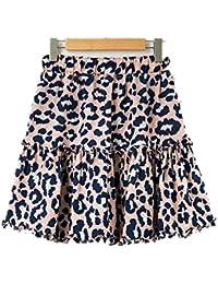4263cafac9 Leopardo de Las Mujeres Falda de Cintura Alta Falda Corta Mini Faldas  Cintura elástica Volantes Faldas (Color   One Color