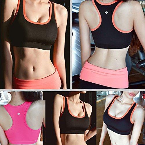 Hrph Mode Femme Bra de Sport Yoga Jogging Gym Fitness Crop Sous-Gorge Padded Tennis Shirt Veste de Sport Yoga Sous-Vêtement Sexy Femme Fille Rose Rouge