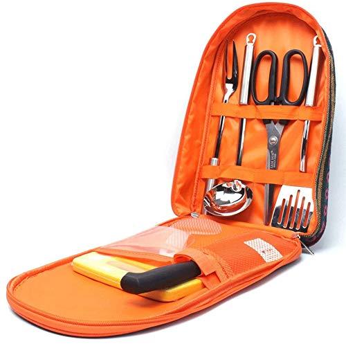 Grillbesteck Tasche Edelstahl BBQ Grillwerkzeug Werkzeuge Zubehör Kit- Pfannenwender, Löffel, Gabel, Schere, Messer, Schneidebrett, für Outdoor Camping Barbecue ()