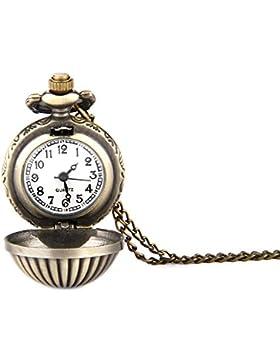 GSPStyle Damen Taschenuhr Anhänger Halskette Sphärische Quarz Uhren Schmuck Farbe Kupfer