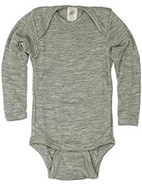 Baby Body langarm, Wolle Seide, Engel Natur, 2 Farben, Gr. 50/56 - 110/116