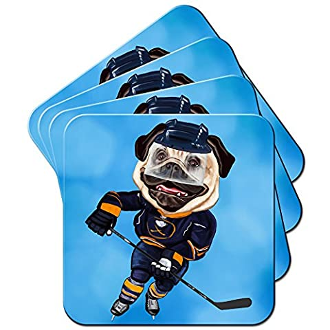 Carlin Sport Sportifs Rugby Football Tennis Set de 4dessous, Ice Hockey Pug With Skates, 6 x Coaster